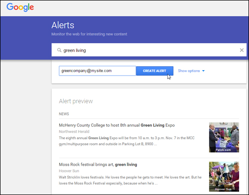 Create as many alerts as you like with Google Alerts