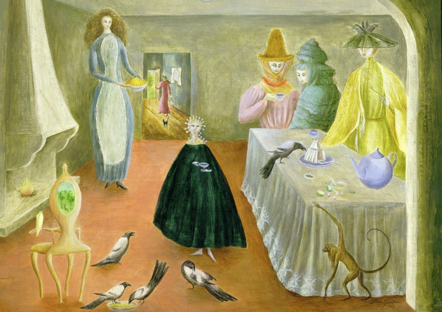 Leonora Carrington The Old Maids 1947 Oil on board 582 x 738 mm Robert and Lisa Sainsbury Collection, Sainsbury Centre for Visual Arts University of East Anglia. © Estate of Leonora Carrington / ARS, NY and DACS, London 2014.