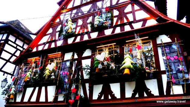 Half-timbered building decoracted for the holidays
