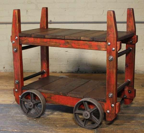 Vintage Industrial Rolling Bar Cart