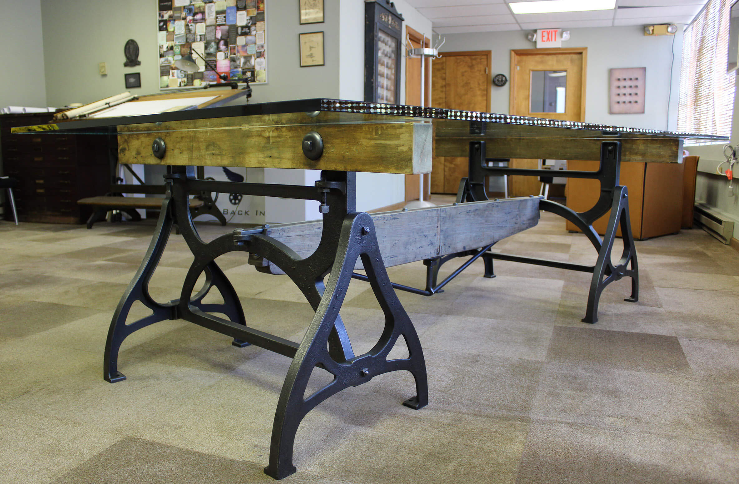 Industrial Cast Iron Amp Wood Brake Conference Table
