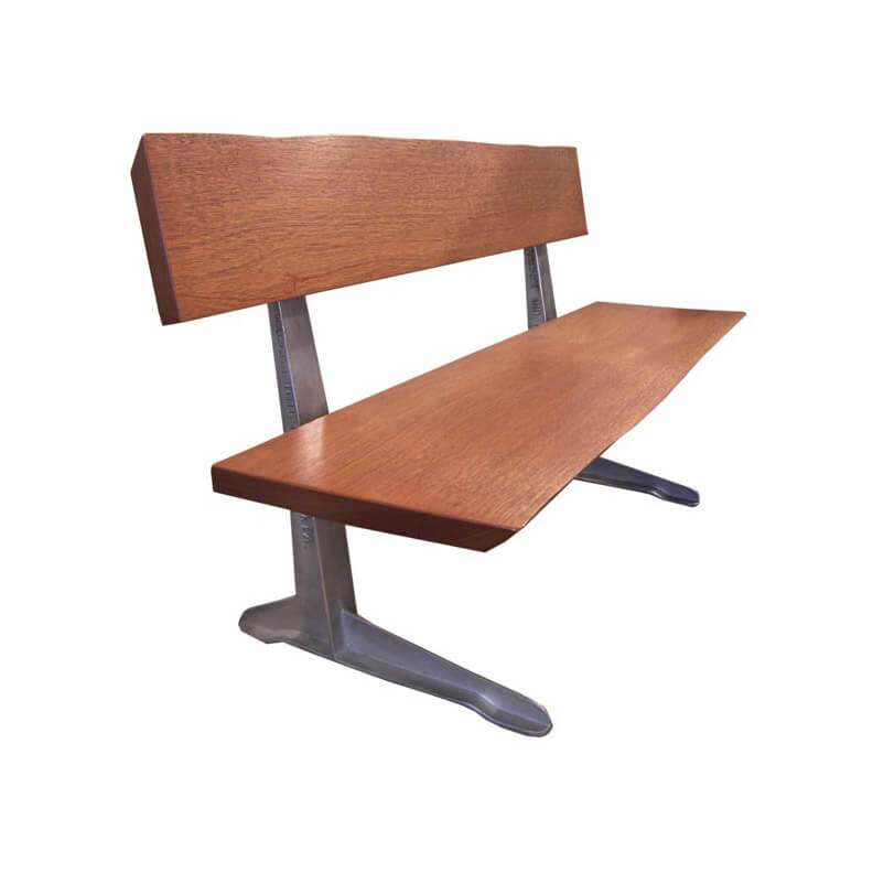 free form mahogany bench