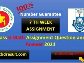 Class 6 Math Assignment Answer 7th week pdf | 2021