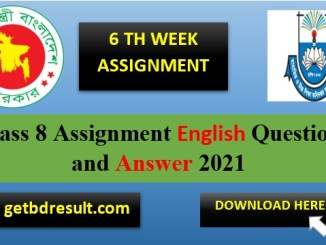 Class 8 English Assignment Answer pdf download | 6th week 2021