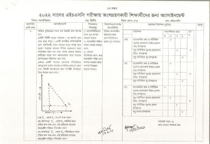 HSC 2022 Assignment Physics question pdf 2nd week