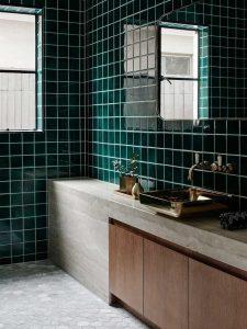 Dark Green Bathroom Tile Design. Uplifting Bathtub Tile #bathroomtileideas  #showertile #bathroomtilefloor