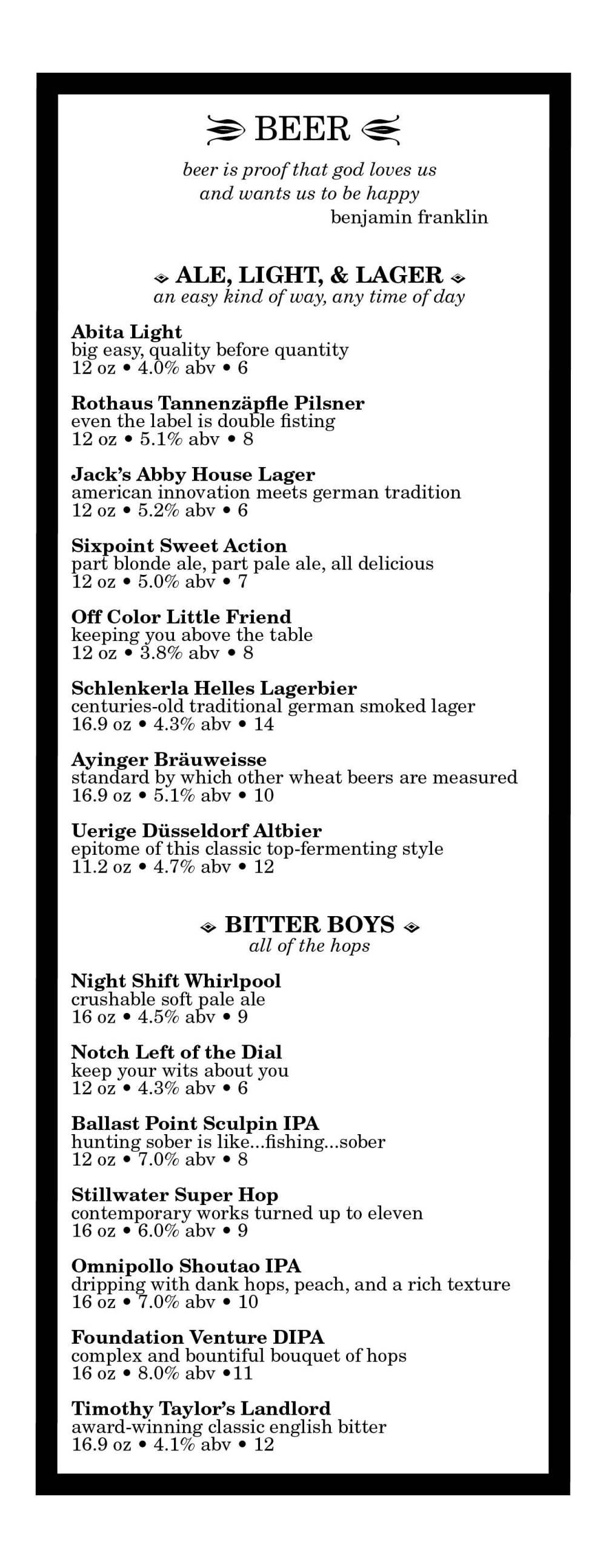 Beer | The Hawthorne