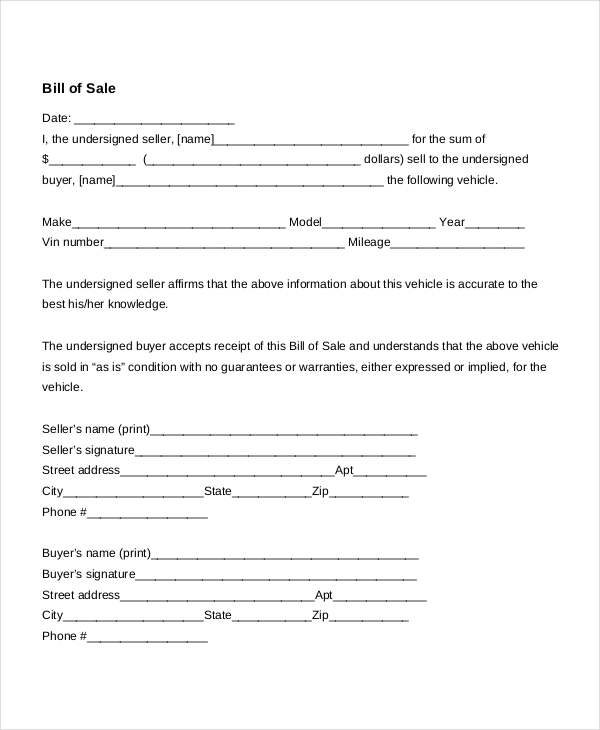 Free Bill Of Sale Form Template Vehicle Car Auto Dmv