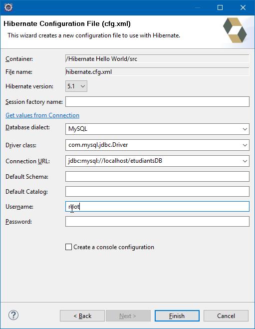 Hibernate Configuration File Wizard