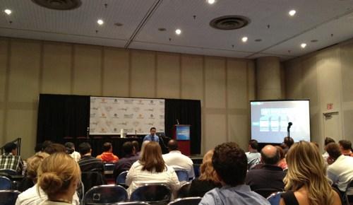 Pat Flynn speaking at Blog World New York