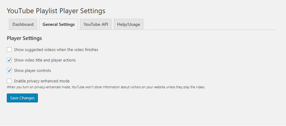 YouTube Playlist Player - General Settings