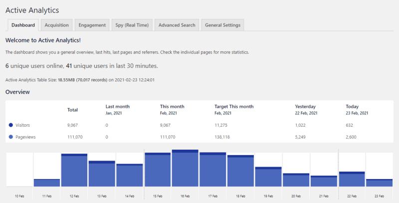 Active Analytics WordPress Plugin