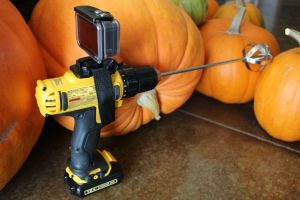 pumpkin gutter, camera, filming pumpkin gutting, halloween