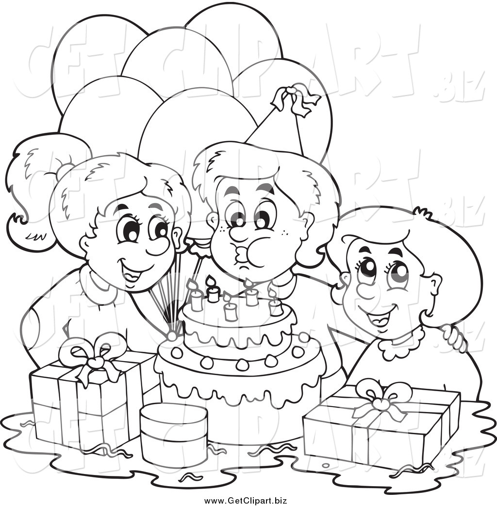 Clip Art Of A Black And White Birthday Boy Blowing Out His