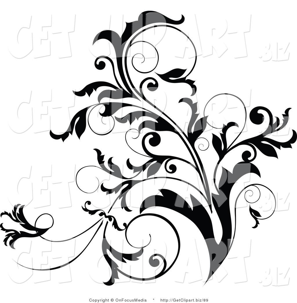 Clip Art of a Black and White Curly Plant Flourish Design