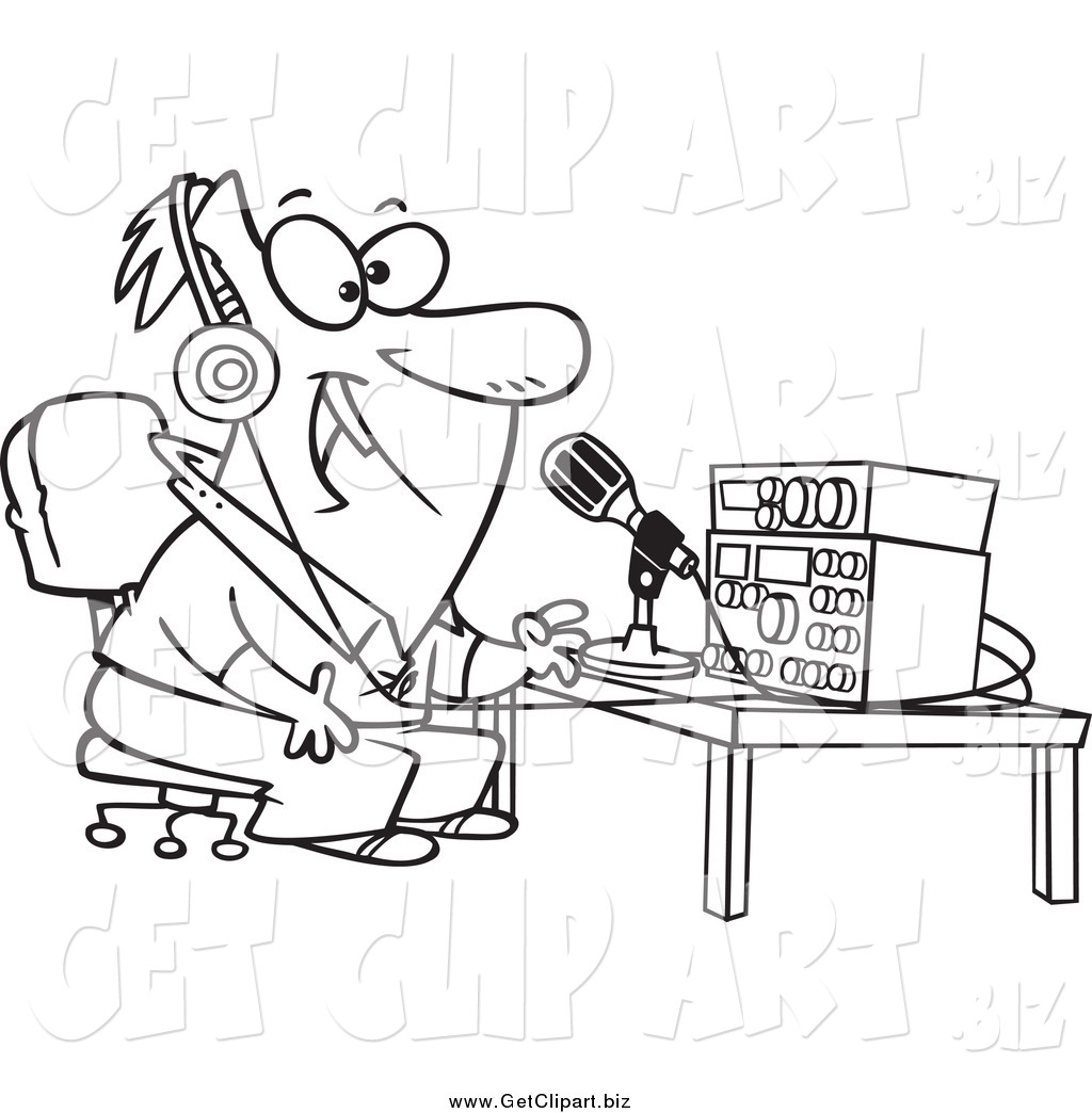 Larger Preview Clip Art Of A Black And White Enthusiastic