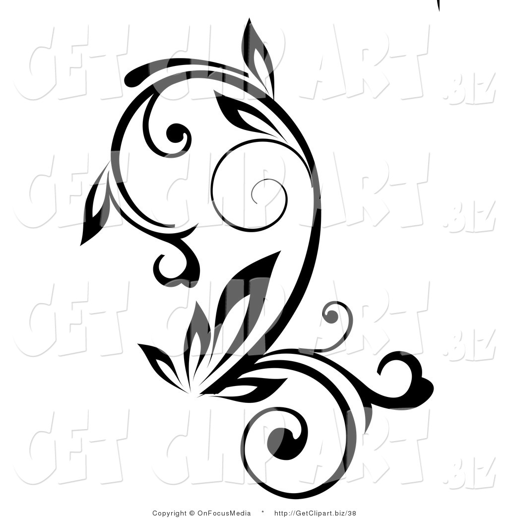Clip Art Of A Black Outline Plant With Curling Stalks On