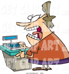 clip art of a stressed out caucasian clerk female at a cash register in a store [ 1024 x 1044 Pixel ]
