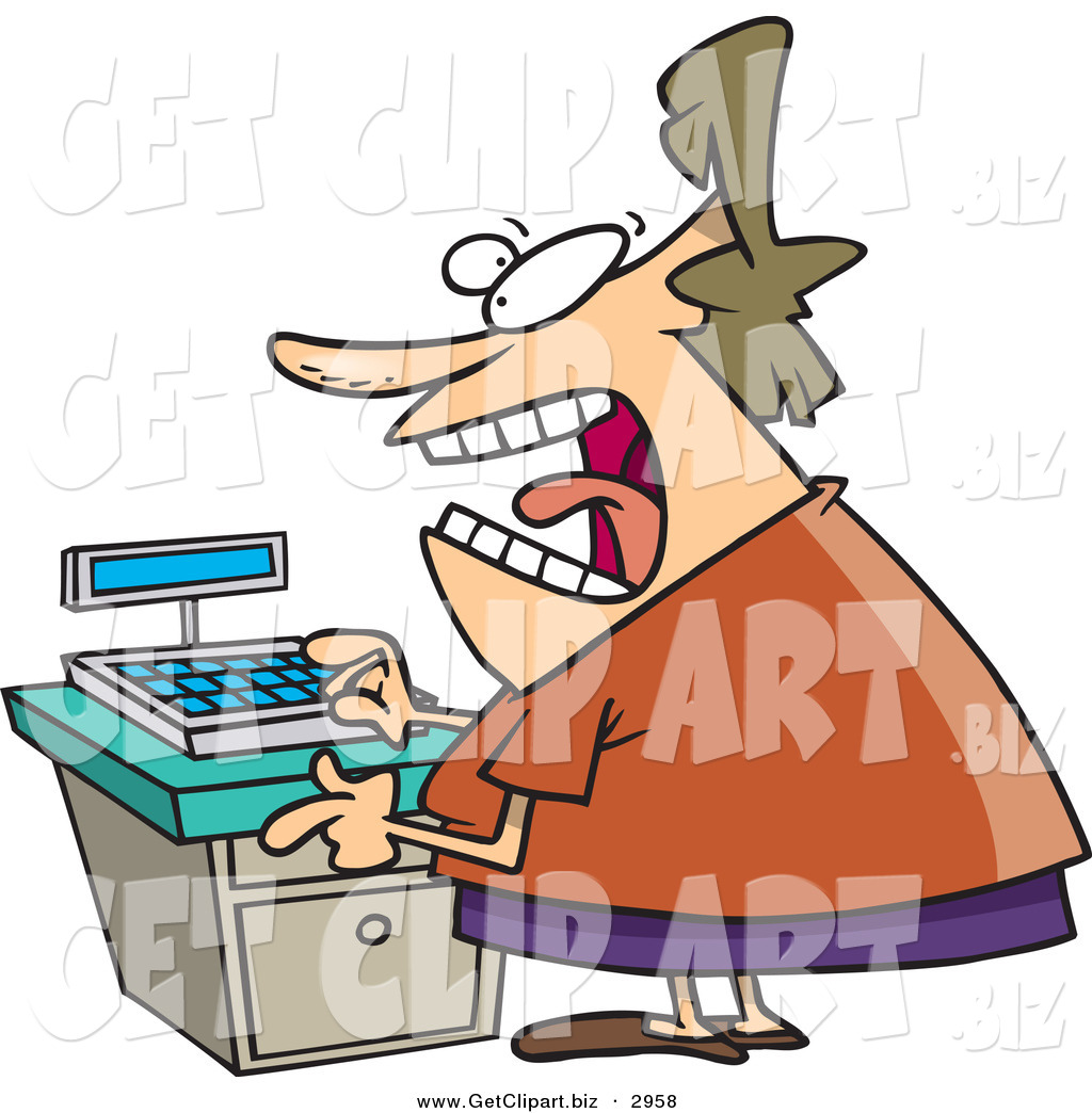 hight resolution of clip art of a stressed out caucasian clerk female at a cash register in a store