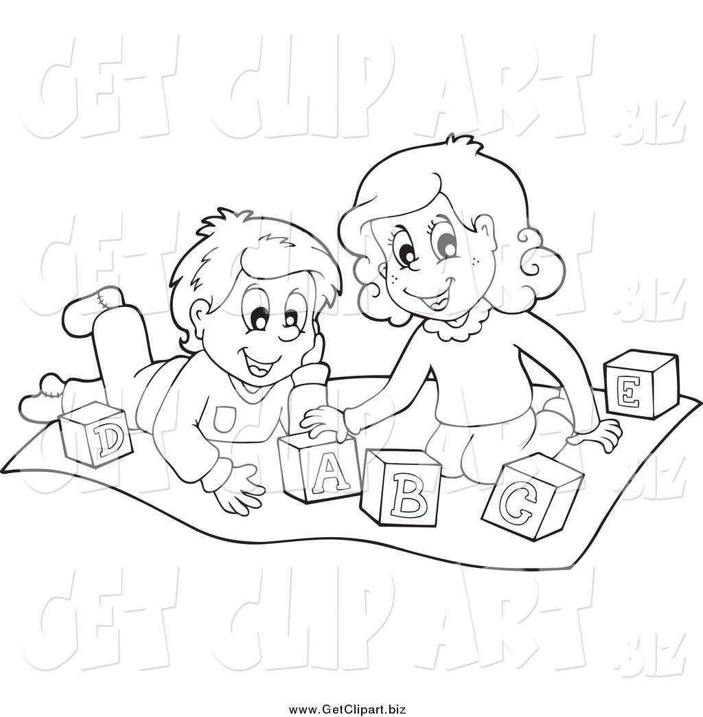 Clip Art Of Black And White Kids Playing With Letter