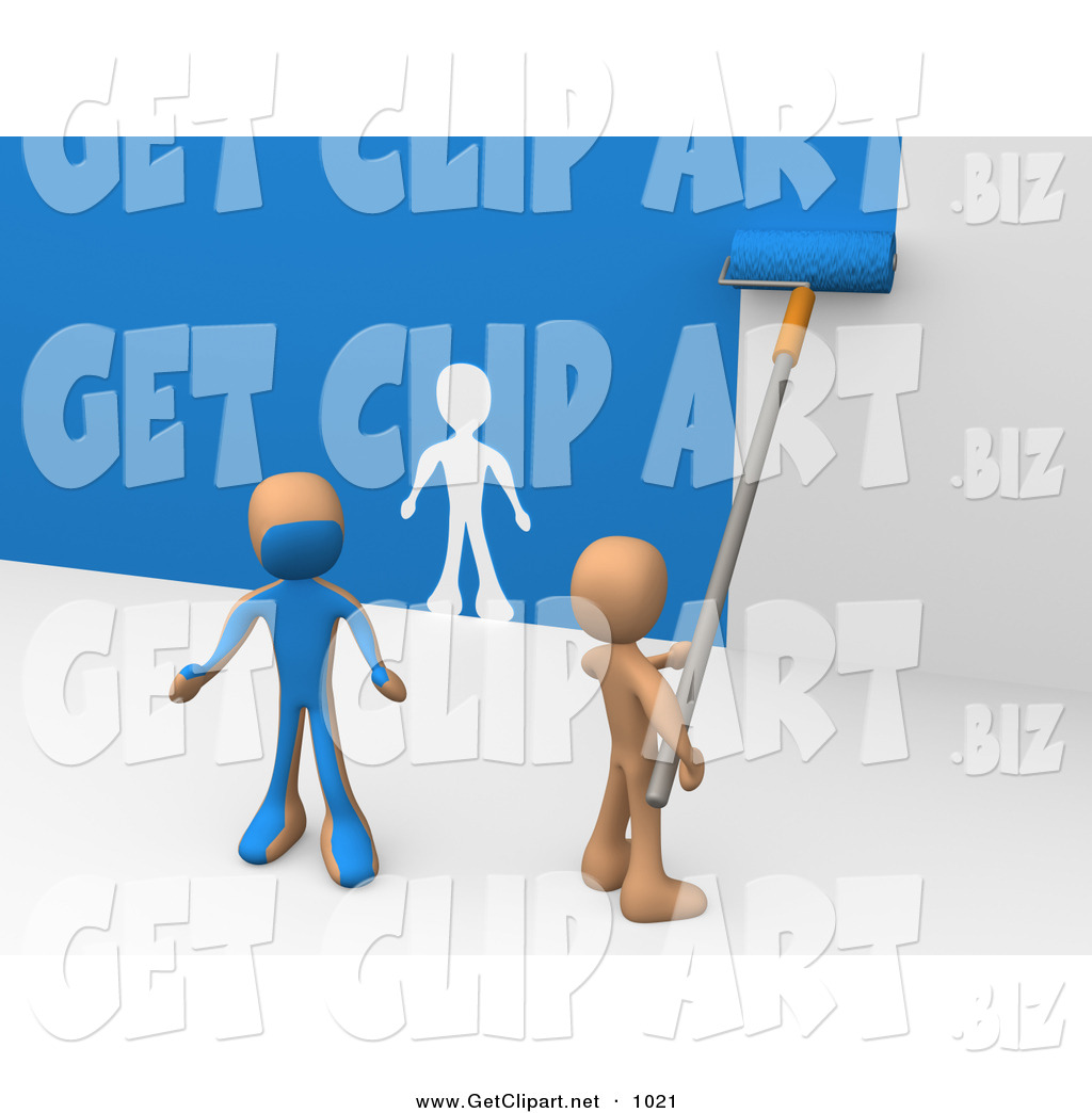 3d Clip Art of a Helpful Person Using a Roller to Apply