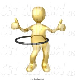clip art of a 3d gold man giving two thumbs up and using a hula hoop [ 1024 x 1044 Pixel ]