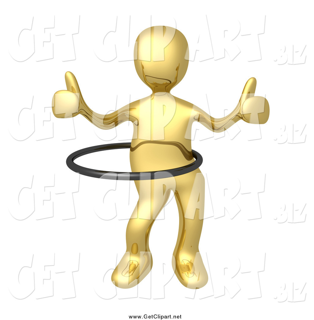 hight resolution of clip art of a 3d gold man giving two thumbs up and using a hula hoop