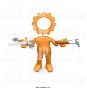 clip art of 3d orange person
