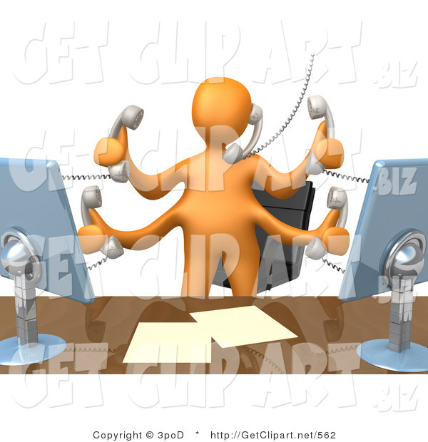 3d clip art of busy orange employee