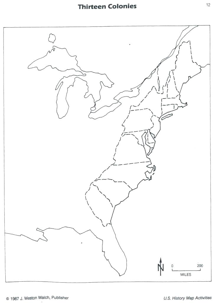 Blank 13 Colony Map Sketch Coloring Page