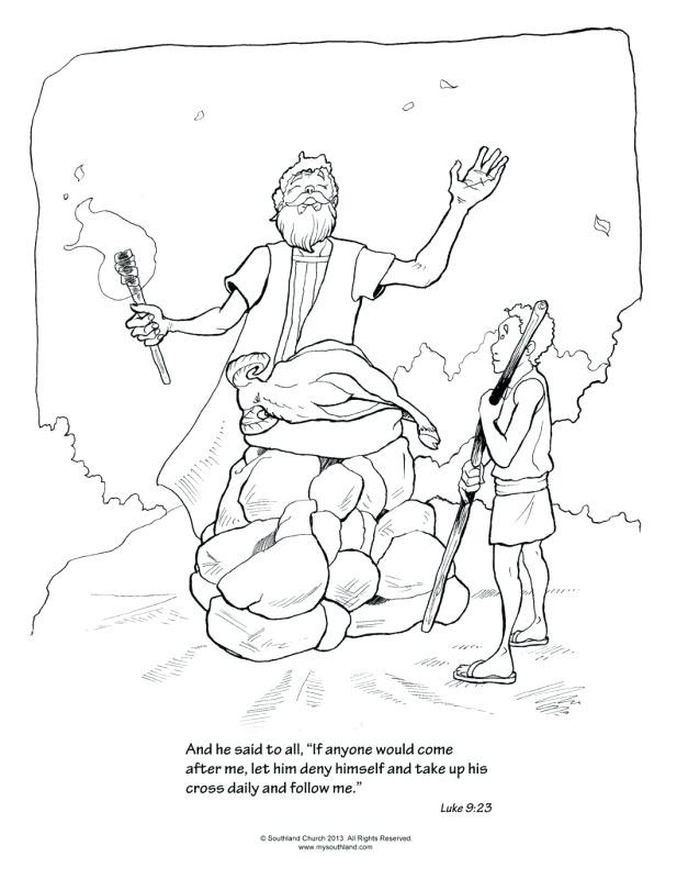 Abraham Sacrifices Isaac Page Coloring Pages