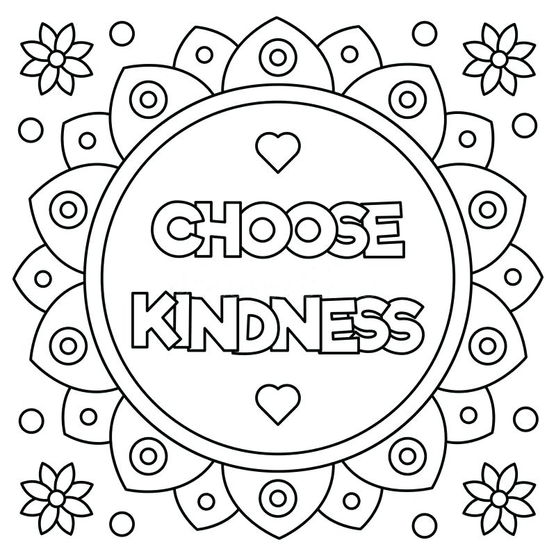 Be Kind Coloring Page at GetColorings.com   Free printable ...