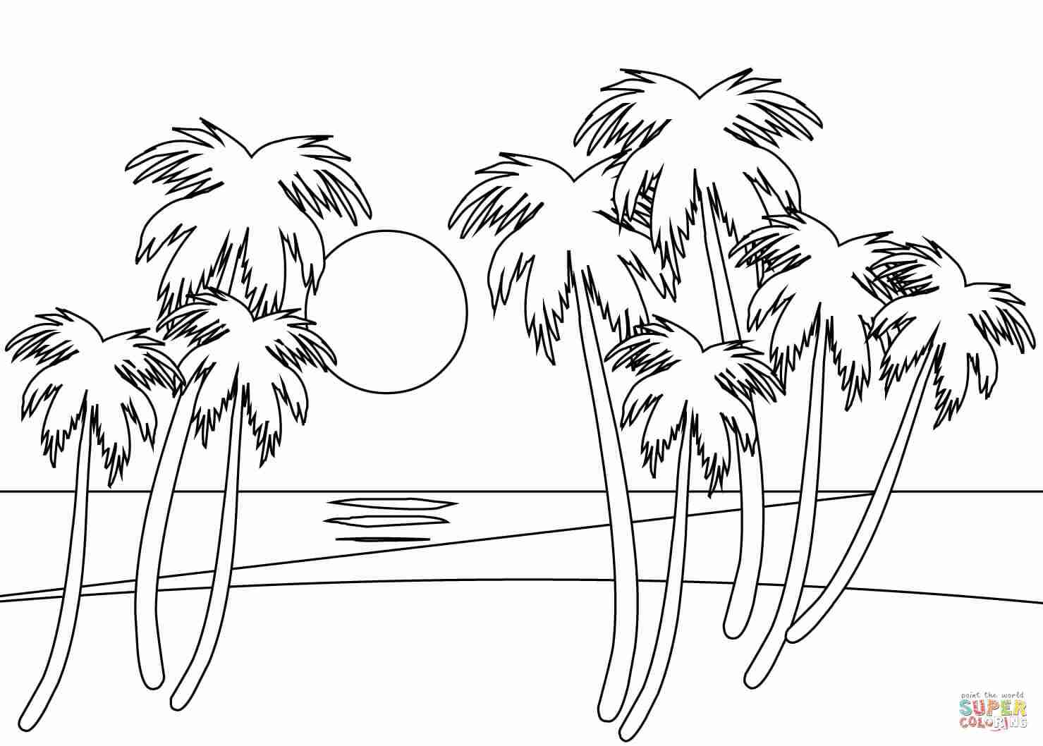 Beach Sunset Coloring Pages At Getcolorings