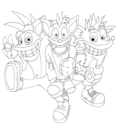 Crash Bandicoot Coloring Pages At Getcolorings Com