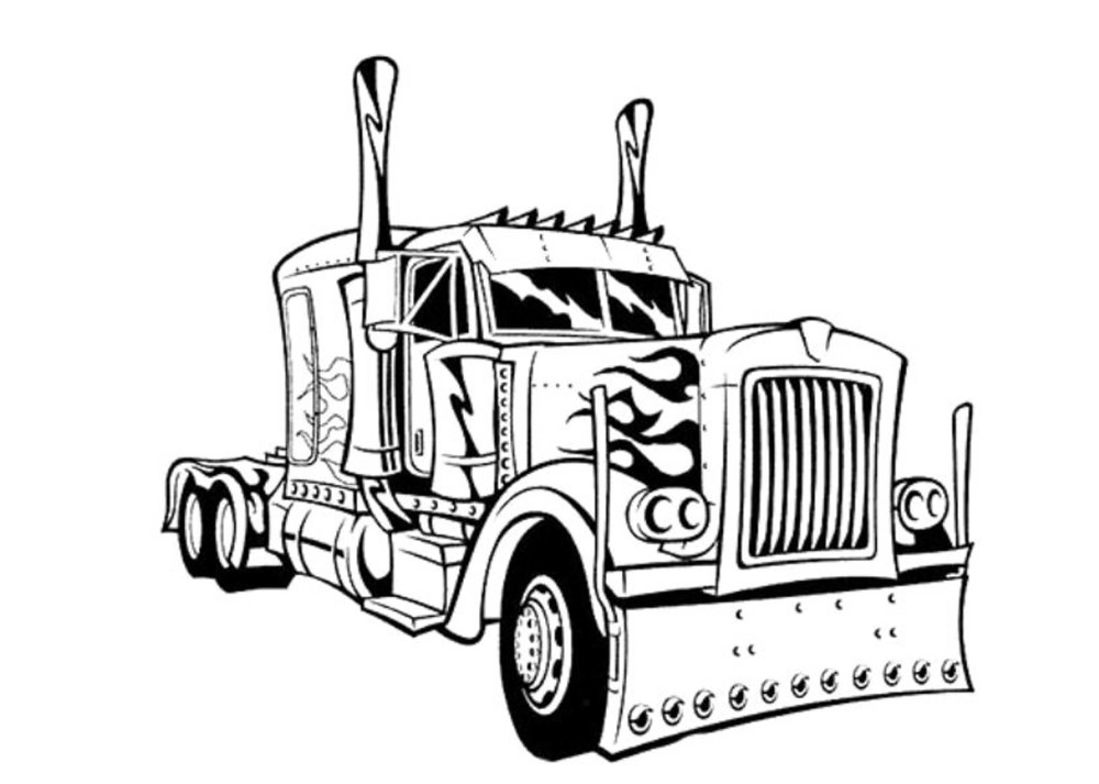 medium resolution of 2500x1783 semi truck coloring pages