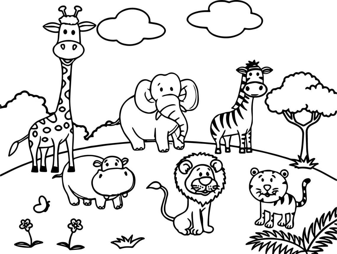 Cartoon Zoo Animals Coloring Pages at GetColorings.com ... | printable coloring zoo animals