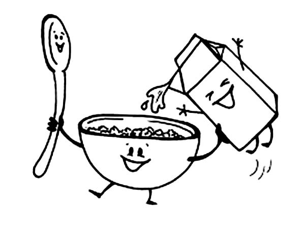 Cereal Bowl Coloring Page Sketch Coloring Page
