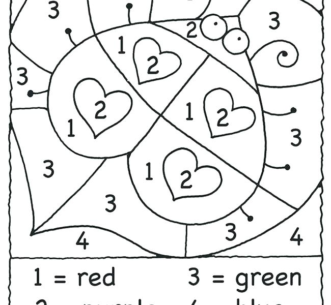 Color By Number Coloring Pages For Kindergarten at