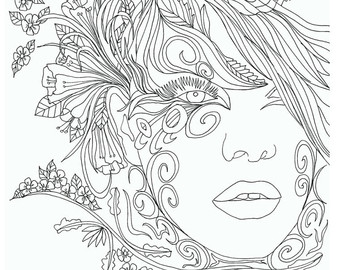 Two Face Coloring Pages For Adults Coloring Pages