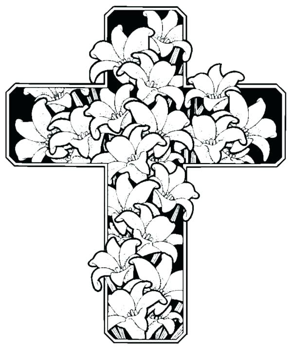 Cross With Flowers Coloring Pages at GetColorings.com