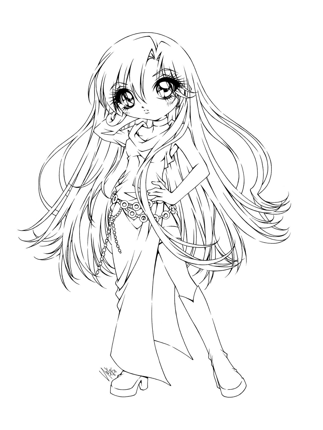 Cute Manga Coloring Pages At Getcolorings
