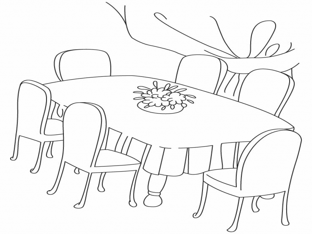 Dinner Table Coloring Page At Getcolorings