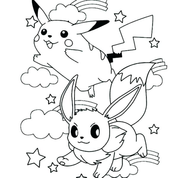 Eevee And Pikachu Coloring Pages at GetColorings.com