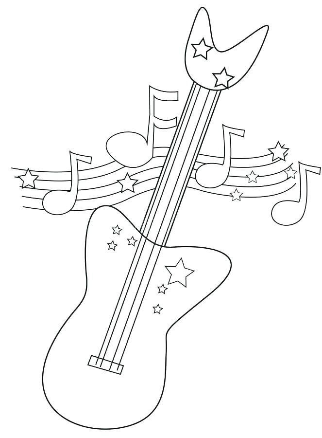Electric Guitar Coloring Pages To Print Printable P