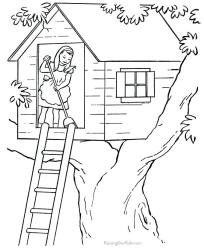 coloring pages printable tree colouring farm houses sheets colour drawing fortune teller chores print books printing plans treehouse getcolorings woodworking
