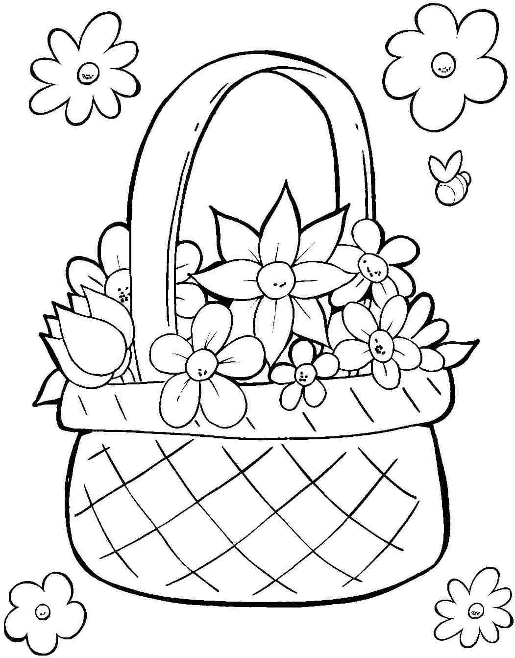Flower Basket Colouring Pages At Getcolorings