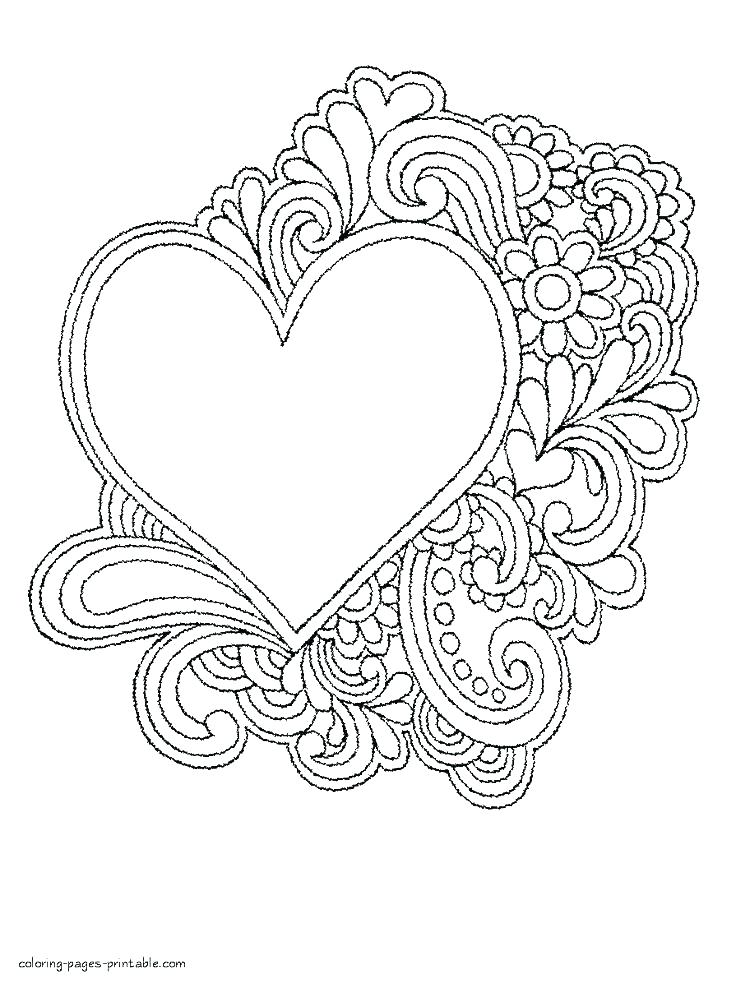 Printable Coloring Pages Hearts And Flowers - Novocom.top