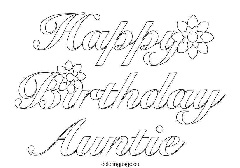 Happy Birthday Aunt Coloring Pages at GetColorings.com