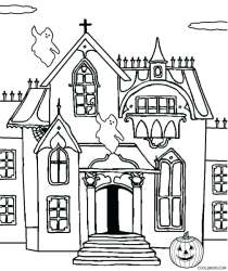 haunted coloring pages castle printable printables drawing halloween line spooky print pdf cool2bkids clip getdrawings getcolorings colori getcoloringpages sketch template