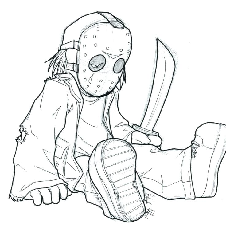Horror Coloring Page Freddy Vs Jason